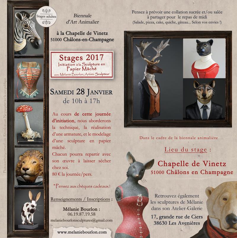 Marie-Laure Cathelin, www.mlcat.com, infographie, flyer, mélanie bourlon, papier mâché, stages, 2017, maquette
