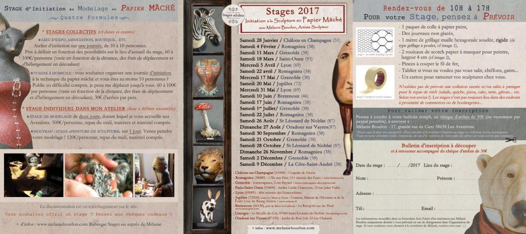 Marie-Laure Cathelin, www.mlcat.com, infographie, dépliant, mélanie bourlon, papier mâché, stages, 2017, maquette